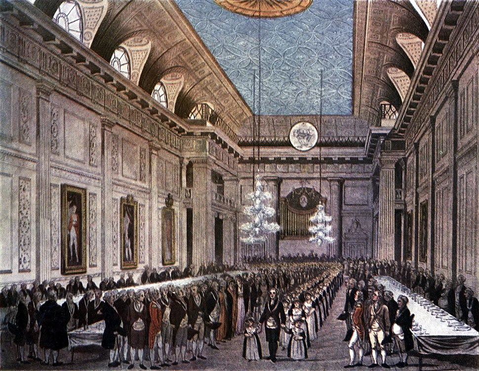 Microcosm of London Plate 038 - Freemasons' Hall (tone)