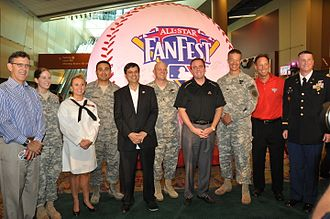 Derrick Hall - Derrick Hall with Luis Gonzalez, Mayor Phil Gordon, and military officials at the Major League Baseball All-Star Game