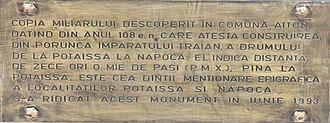 Milliarium of Aiton - Image: Milliarum of Aiton, plaque of the modern copy erected in Turda, Romania in 1993