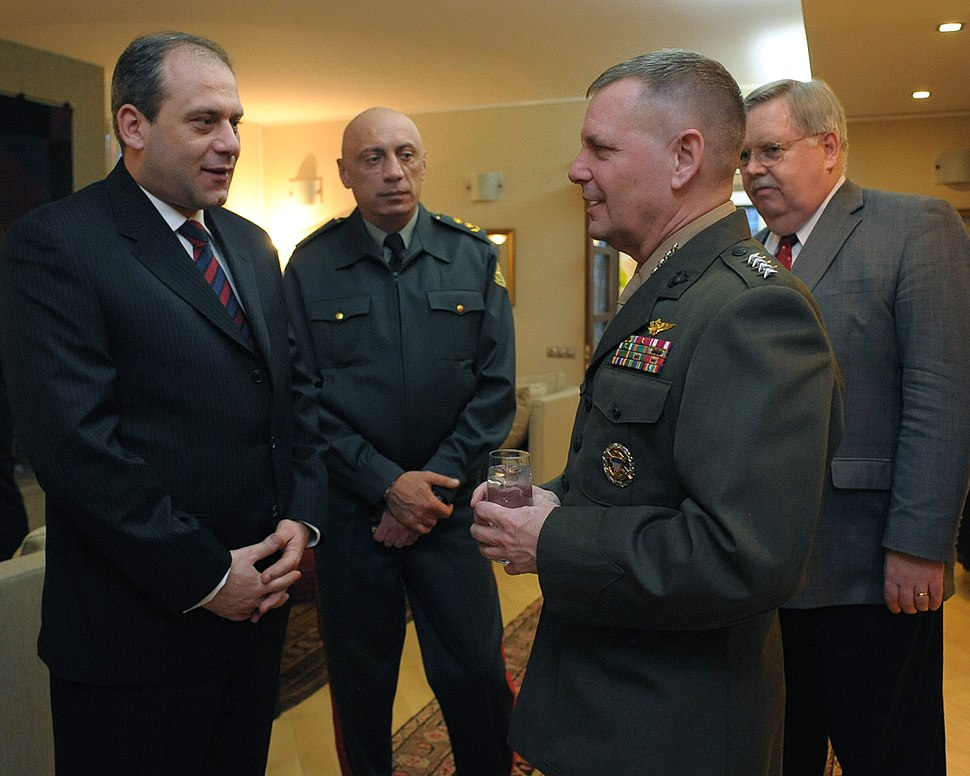 Minister of Defense David Sikharulidze, Georgian Chief of Defense Devi Tchonkotadze and Ambassador John Tefft listen to US Marine James Cartwright, vice chairman of the Joint Chiefs of Staff. Tbilisi, Georgia (March 30, 2009)