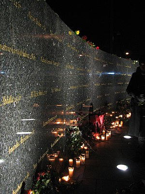 Gothenburg discothèque fire - Claes Hake's memorial for the dead, unveiled on the tenth anniversary of the fire in late-October 2008.