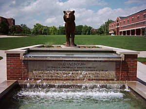 University of Missouri - A fountain and statue make up Tiger Plaza on the Carnahan Quadrangle.