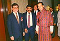 Mohammad Mosaddak Alimet with King of Bhutan Jigme Singye Wangchuckat the Pan Pacific Sonargaon Hotel in Dhaka.jpg