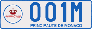 Wedding of Albert II, Prince of Monaco, and Charlene Wittstock - Image: Monaco License Plate used for Mariage Princier (rear)