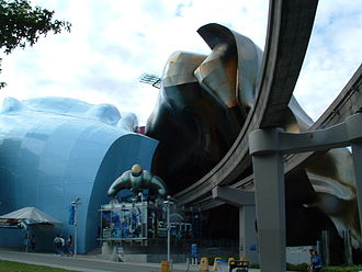 Museum of Pop Culture - Monorail tracks going through the MoPOP building
