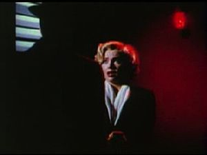 Marilyn Monroe is frightened in the theatrical...