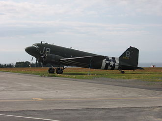 Mont-Joli Airport - World War II plane in operation at Mont-Joli Airport