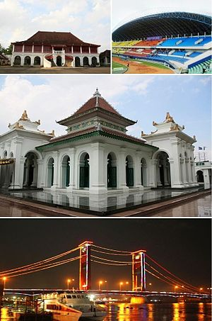 From top left, clockwise: Sultan Mahmud Badaruddin II Museum, Gelora Sriwijaya Stadium, Palembang Great Mosque, Ampera Bridge.