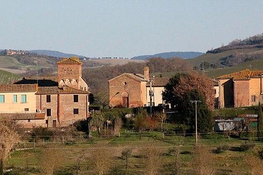 Cuna, frazione di Monteroni d'Arbia, con l'ngresso della Grancia e la Chiesa dei Santi Giacomo il Maggiore e Cristoforo
