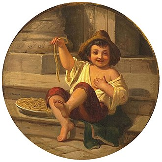 Pasta - Boy with Spaghetti by Julius Moser, c. 1808