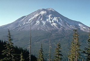 A large conical volcano.