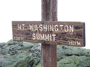 Sign at the summit of Mount Washngton, New Ham...