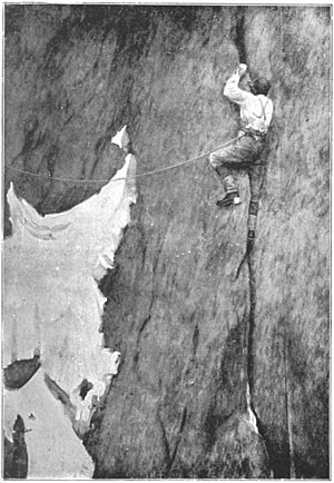 Aiguille du Grépon - Albert Mummery in Mummery's crack in 1893 as photographed by Lily Bristow