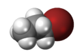 Spacefill model of n-propyl bromide