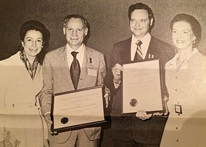 Harry Dornbrand - Harry Dornbrand (second left) and John Thole (second right) receive the NASA Distinguished Public Service Medal and NASA Distinguished Service Medal (respectively) for their work managing the ATS-6 satellite.