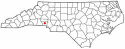 Location within the U.S. state of North Carolina