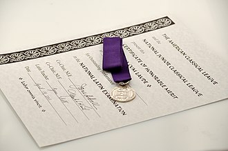 National Latin Exam - The National Latin Exam silver medal and certificate