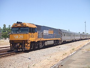 National Rail NR class - NR29 in Pacific National livery hauling the Indian Pacific in January 2008