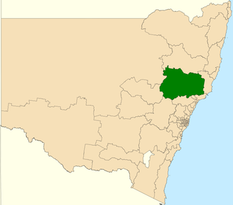 Electoral district of Upper Hunter - Location in New South Wales