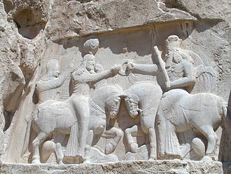 Sasanian art - Ardashir I receives the ring of power from Ahura Mazda.