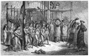 "The Naturalist on the River Amazons - ""Masked-dance and wedding-feast of Tucuna Indians"" by Josiah Wood Whymper"