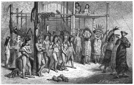 Masked-dance, and wedding-feast of Ticuna Indians, engravings for Bates's 1863 The Naturalist on the River Amazons Naturalist on the River Amazons figure 38.png