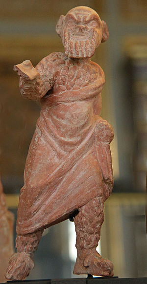 Dyskolos - Terracotta figurine discovered at Myrina and dated to circa 300 BC, believed to represent Knemon, the titular character of Menander's Dyskolos