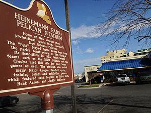 Pelican Stadium - Pelican Stadium/Heinemann Park Historical Marker