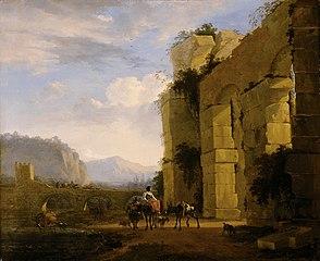 Italienische Landschaft mit Aquäduktruine
