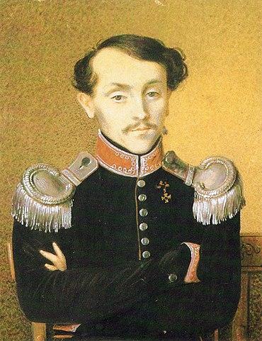 Николай Ильич Толстой, отец писателя. Неизвестный художник. Бумага, акварель. 1823 год