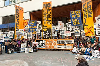 Idle No More - Idle No More SF Bay and other protesters against bringing tar sands to the San Francisco Bay gather outside the Bay Area Air Quality Management District, March 2018.