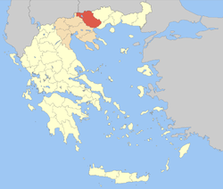 Serres within Greece