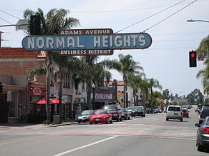 English: Normal Heights, neighborhood of the m...