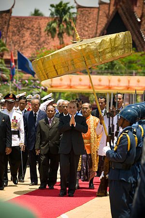 Norodom Sihamoni - King Norodom Sihamoni at the Royal Ploughing Ceremony in Phnom Penh.