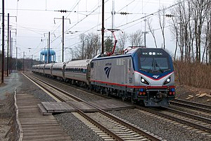 Higher-speed rail - Amtrak's Northeast Regional on the Northeast Corridor in Odenton, Maryland.