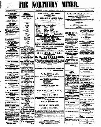 The Northern Miner (Queensland) - Front page of The Northern Miner, 4 July 1874
