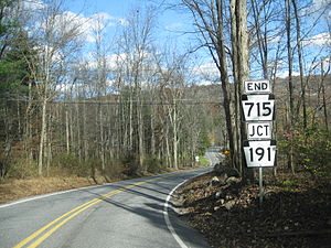 Pennsylvania Route 715 - Route 715 at its northern terminus with Route 191 in Paradise Township