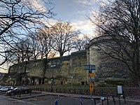Nottingham Castle Outer Bailey Wall And Towers, Castle Road, Nottingham.jpg