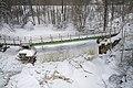 Nukarin tammi bridge and dam from air at Nukarinkoski, Nurmijärvi, Finland, 2021 February.jpg
