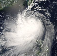 Nuri shortly after reaching peak intensity just north of the Philippines
