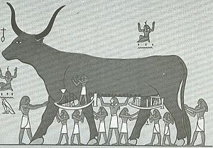 Book of the Heavenly Cow - The sky goddess Nut depicted as a cow and supported by the eight Heh gods