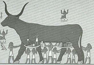Egyptian mythology - The sky depicted as a cow goddess supported by other deities. This image combines several coexisting visions of the sky: as a roof, as the surface of a sea, as a cow, and as a goddess in human form.