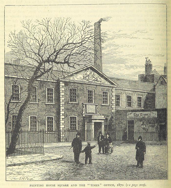 Sede del diario The Times, en 1870.