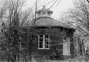 Watkins Woolen Mill State Park and State Historic Site - The octagonal schoolhouse in 1975.