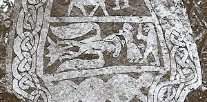 Stora Hammars stones - Detail from Stora Hammars III showing Odin in his eagle fetch (note the eagle's beard), Gunnlöð holding the mead of poetry, and Suttungr.
