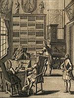 Rycina z początku XVIII wieku przedstawiająca biuro. Widoczna jest na niej pisemna forma komunikacji oraz zbiory archiwalne w tle