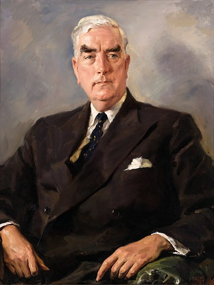 Parliament House Portrait of Menzies by Ivor Henry Thomas Hele, 1955 Official Portrait of Robert Menzies by Ivor Hele.jpg
