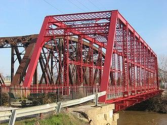 Pigeon Creek (Indiana) - The Ohio Street Bridge over Pigeon Creek where it empties into the Ohio River at Evansville, Indiana