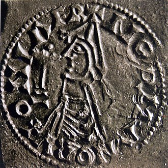 Thorfinn the Mighty - A coin from the reign of Olaf Haraldsson of Norway dated 1023–28.