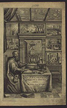 Ce frontispice représente Comenius rédigeant un manuscrit. Sur la table de travail se trouvent une mappemonde, un encrier et deux livres fermés. Comenius assis sous un plafond constellé montre un mur de vignettes. Cette image est commentée dans le Typographeum vivum.